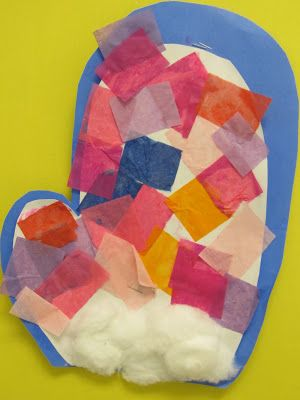 Winter bulletin board, Preschool winter bulletin board, Mittens in children's art, tissue paper mittens,
