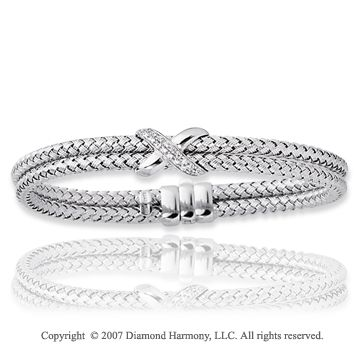 14k White Gold Pave Round 0.18 Carat Diamond Bracelet -> Description: A stylish bracelet with a woven pattern it is adorned with 18 sparkling round diamonds. You are a stunning beauty with this 14k White Gold Pave Round 0.18 Carat Diamond Bracelet. -> sku=BR8339 -> Price $1185.00