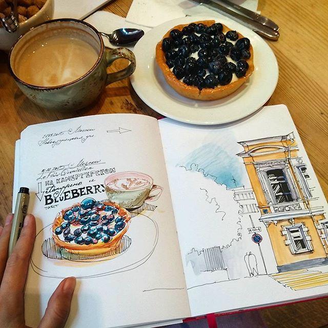 It's #architecturedrawingday with #riba, a delicious blueberry tart in @lpqru #lepainquotidien and my favourite student! . Сегодня день архитектурных рисунков с Riba, вкусным пирожным с голубикой в Хлебе Насущном, и любимой студенткой :) . #micronpigma #pen #lamysafari #fountainpen #winsorandnewton #watercolor #leuchtturm1917 #sketchbook #lpq #moscow_in_sketches