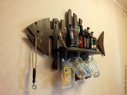 Купить Fish-Bar. Интерьерный мини бар на стену. - коричневый, бар, мини-бар, рыба