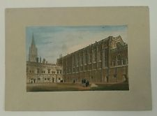 Christ Church College Quadrangle Oxford Hand Coloured Engraving 18th/19th Cent.