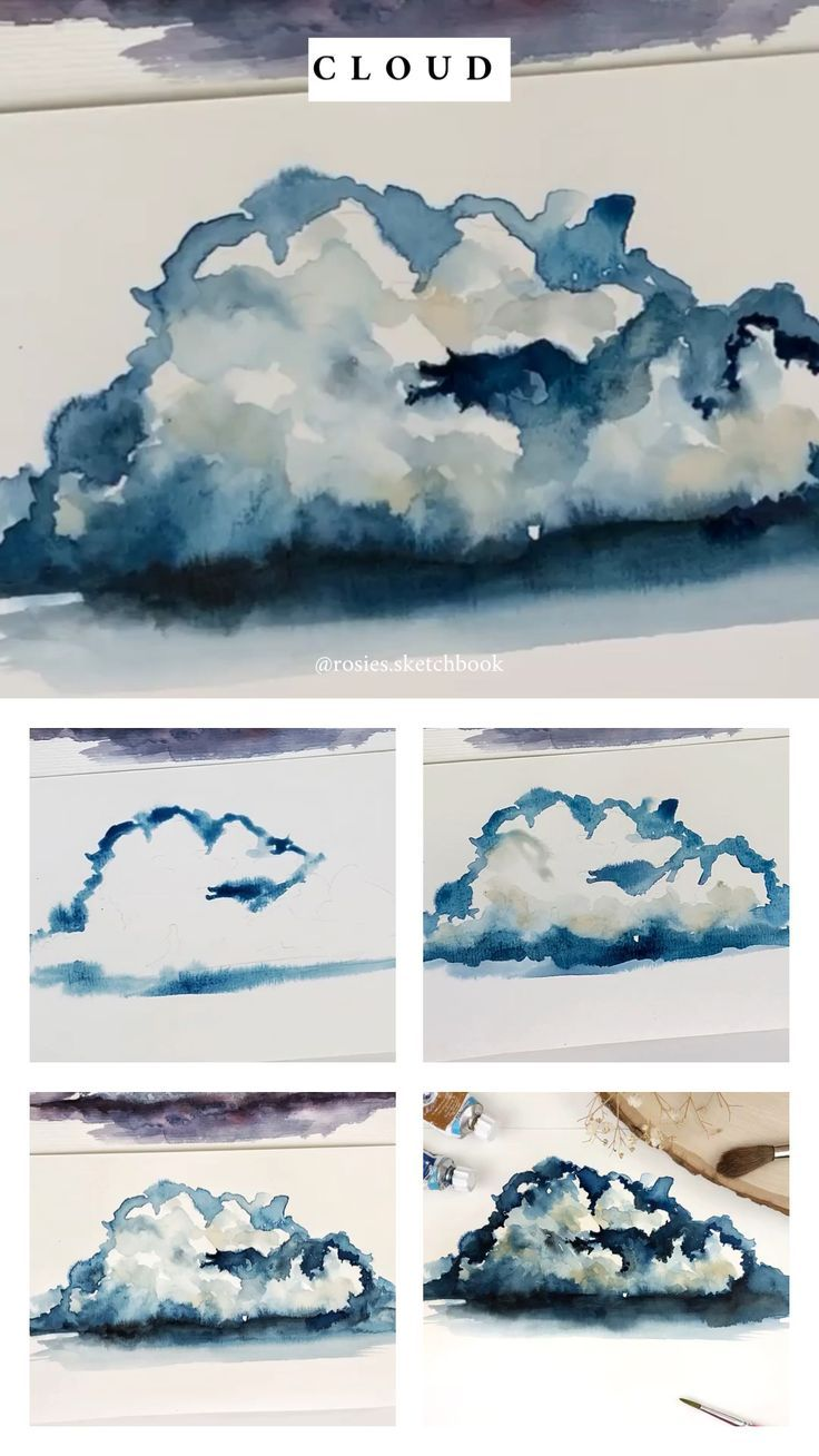 Mini Cloud Tutorial Zeichnungen Aquarellmalerei Aquarell