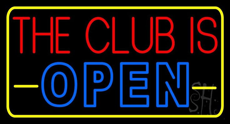 The Club Is Open With Yellow Border Neon Sign 20 Tall x 37 Wide x 3 Deep, is 100% Handcrafted with Real Glass Tube Neon Sign. !!! Made in USA !!!  Colors on the sign are Red, Blue and Yellow. The Club Is Open With Yellow Border Neon Sign is high impact, eye catching, real glass tube neon sign. This characteristic glow can attract customers like nothing else, virtually burning your identity into the minds of potential and future customers.