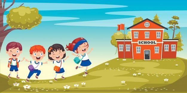 Happy Cute Cartoon School Children Kids School School Banner Happy Teachers Day Card