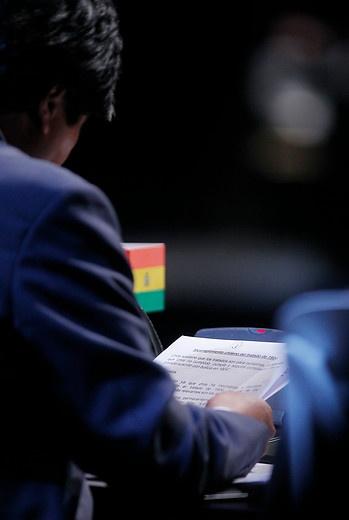 28 de ENERO de 2013/SANTIAGO, CHILE.   Sesión Plenaria de la Cumbre CELAC en el Salón Pablo Neruda, en el Centro de Convenciones Espacio Riesco. En la foto, el Presidente de Bolivia, Evo Morales.   FOTO: NADIA PEREZ/AGENCIAUNO/PRENSACUMBRE