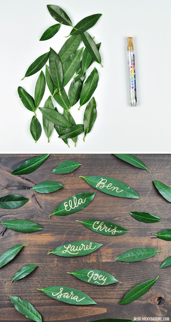 Love these leaf name tags, so creative! #tablesetting #nametags #authentic @arti…