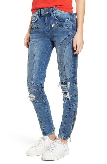 X Gigi Hadid Speed Distressed Ankle Zip Jeans Mid Blue Pinterest