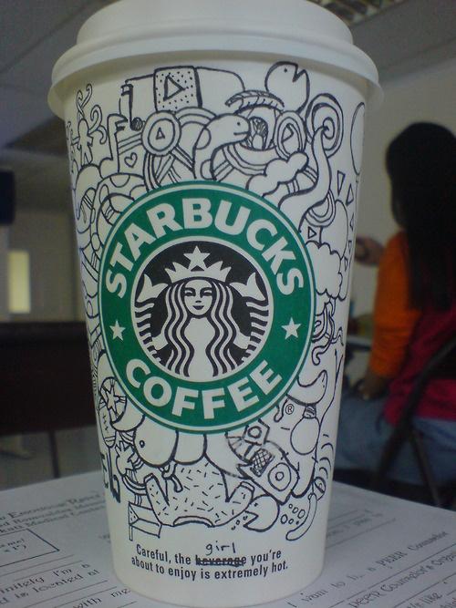 starbucks cup art | CUP OF COFFEE ART | Pinterest | Simple ...