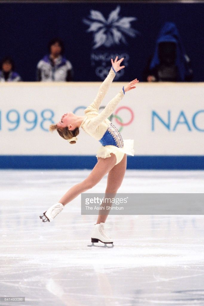 Tara Lipinski of the United States competes in the Women's Singles Short Program during day eleven of the Nagano Winter Olympic Games at White Ring on February 18, 1998 in Nagano, Japan.