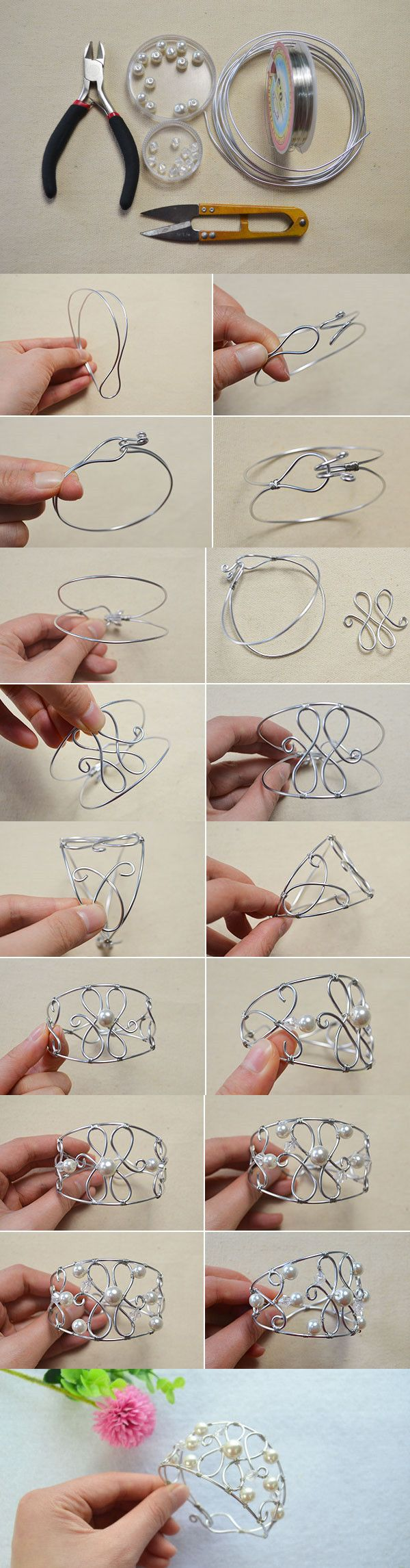 Tutorial on How to Make Woven Bracelet with Pearls and Silver Wires- A Particular Gift for Your Best Friend from LC.Pandahall.com