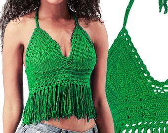 Ganchillo Bikini Halter Bikini Top Crochet Bikini por senoAccessory