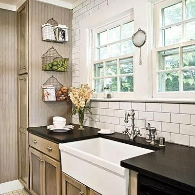 Taupe kitchen cabinetsCottages Kitchens, White Subway Tile, Farms Sinks, Wire Baskets, Farmhouse Sinks, Subway Tiles, Farm Sinks, Kitchens Cabinets, Hanging Baskets