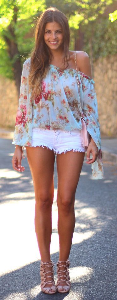 Off the shoulder....shorts are a bit short but love the colors together and the top!