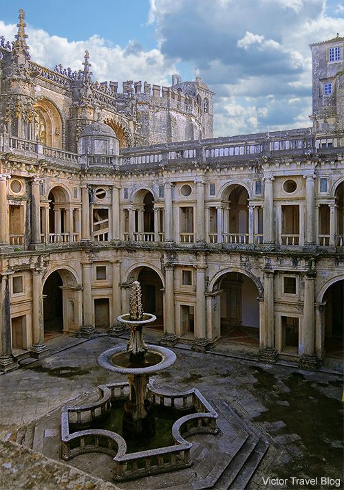 The main cloister of the Convent of the Order of Christ. ( formely from the Templar Order) Tomar, Portugal.