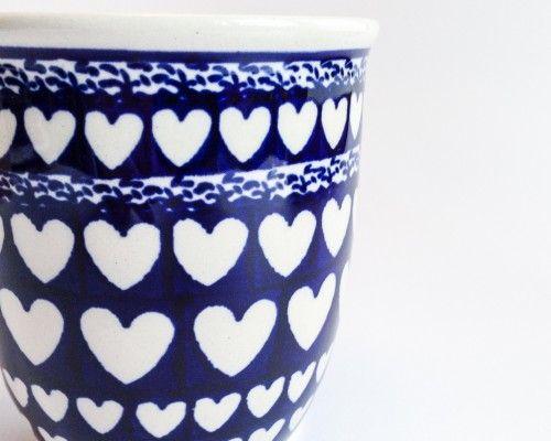 Mug 0.35l #hearts #bunzlau #polishpottery #pottery #ceramics #boleslawiecpottery #boleslawiec