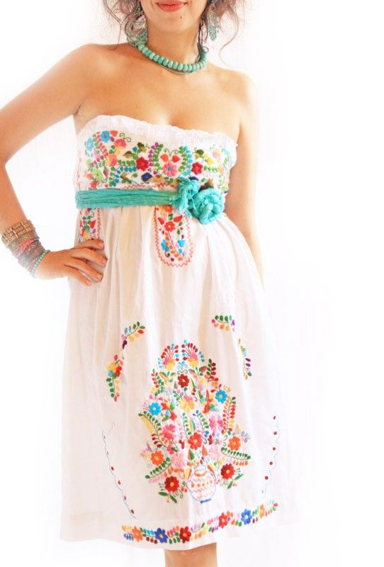 Alegria white Mexican embroidered bohemian strapless dress // Aida Coronado