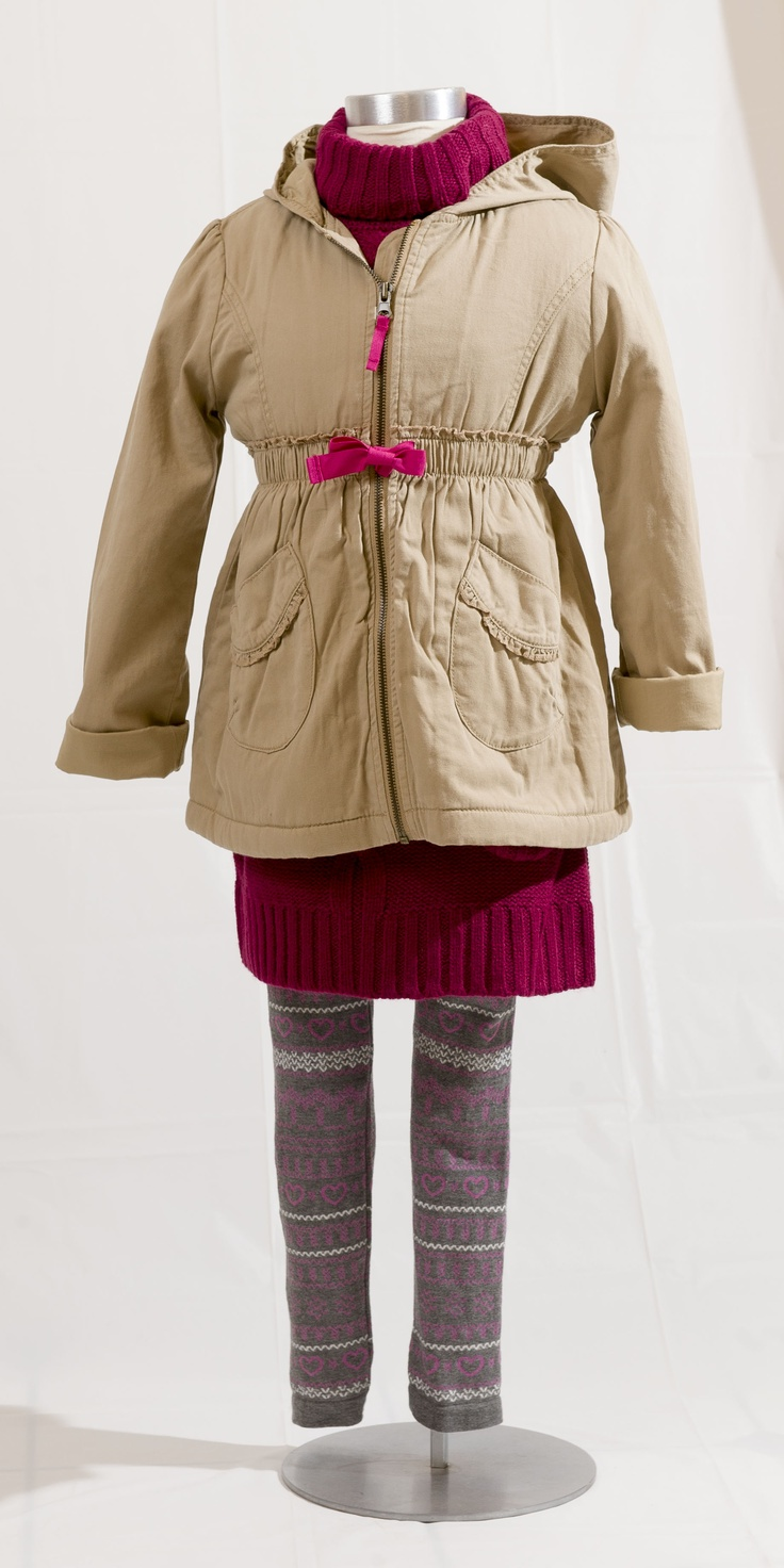 EURO CHIC: Tan jacket with pink bow detail, $44.95 at TheChildrensPlace.com (sizes 4-14); Mauve knit dress by Cherokee, $19.97 at Zellers.com (sizes 2-6x); Grey, pink and white printed leggings by Nevada, $12.99 at Sears.com (sizes 2-6x). Enter to win a $ 500 shopping spree with @TheProvince and Brentwood Town Centre: http://theprov.in/pinandwin #backtoschool