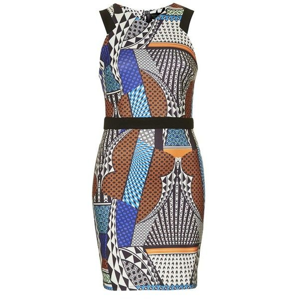 Women's Topshop Mixed Print Body-Con Dress (€24) ❤ liked on Polyvore featuring dresses, colorful dresses, patterned bodycon dress, multi-color dress, body con dress and geometric pattern dress