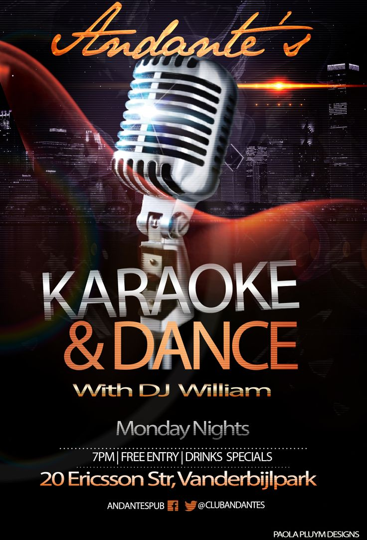 Karaoke & Dance at Andante's every Monday Night with DJ William on the decks from 7PM.  Free Entrance.