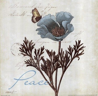 Touch Of Blue I - Peace Art Print by Katie Pertiet at Urban Loft Art