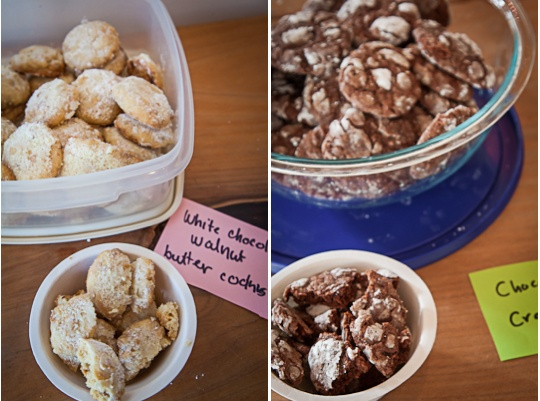 Walnut White Chocolate cookies and Chocolate Crackle Cookies at 18 Reason's DIY Dessert Holiday Cookie Swap. Photo by Irvin Lin of Eat the Love, www.eatthelove.com