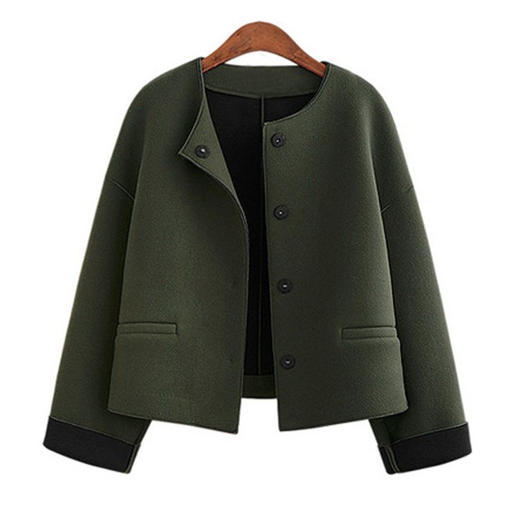 2016 New Autumn Short Jacket Women O-Neck Single Breasted Women Wool Coats Fashion Solid Outerwear Female chaquetas mujer