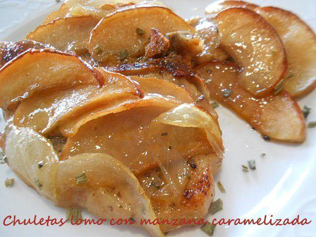 Chuletas de cerdo con manzana carameliza. Una receta que os va a gustar mucho al tratarse de un plato muy atractivo y económico con el que podéis sorprender a vuestros comensales. Marron Glacè. &nb…