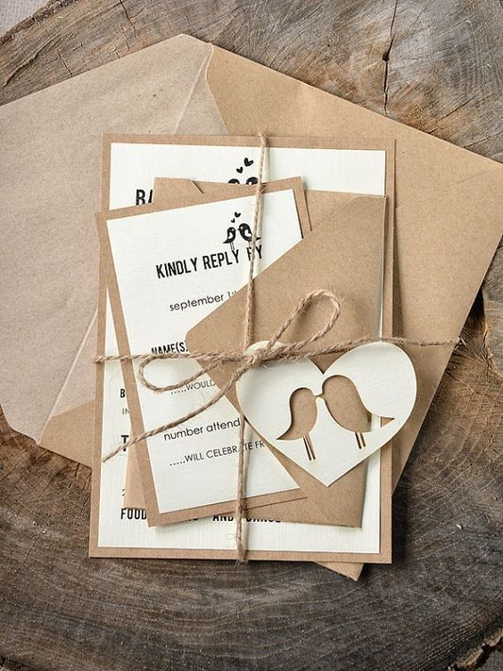 rustic love birds wedding invitations / http://www.himisspuff.com/love-birds-wedding-ideas-youll-love/2/