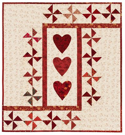 """Three of Hearts"" pattern by Ellen Pahl; Pinwheel Party (Martingale Publishing)"