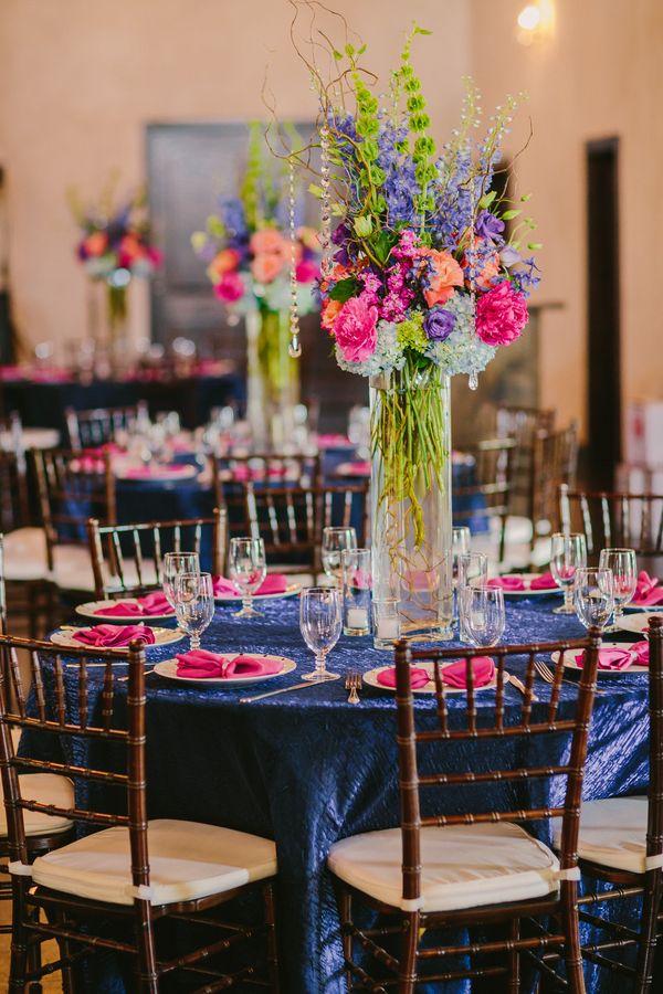 Beautiful centerpiece #blue #pink #wedding @event29/