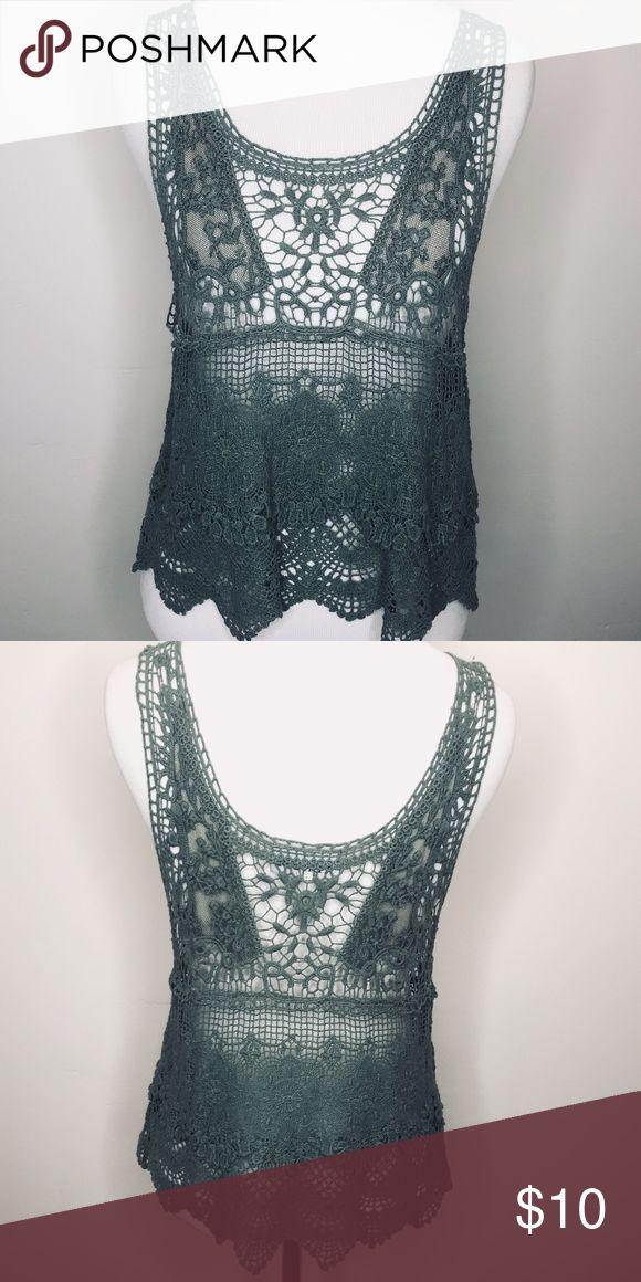 Green Crochet Tank Green Crochet Tank Album Tops Tank Tops