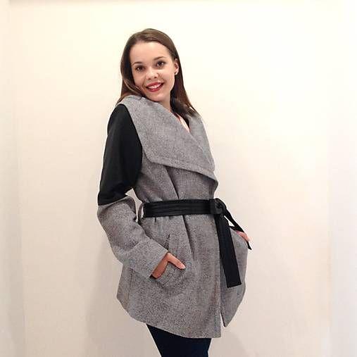 LuxuryCouture / Kašmírový kabát Max Mara krátky šedý