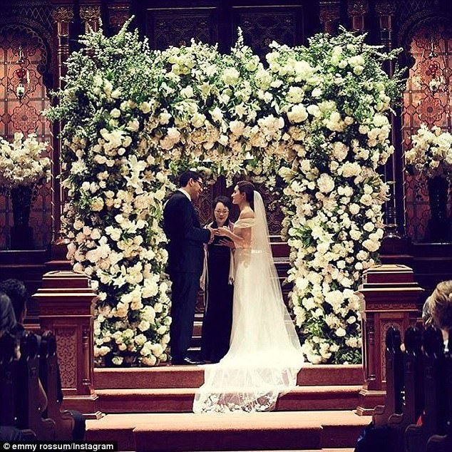 Beautuful bride: Emmy Rossum wed Mr Robot creator Sam Esmail in an intimate ceremony in New York City on Sunday