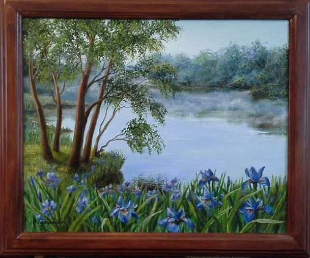 """Landscape Oil painting, oil on canvas, Handmade art """"Fresh morning""""."""