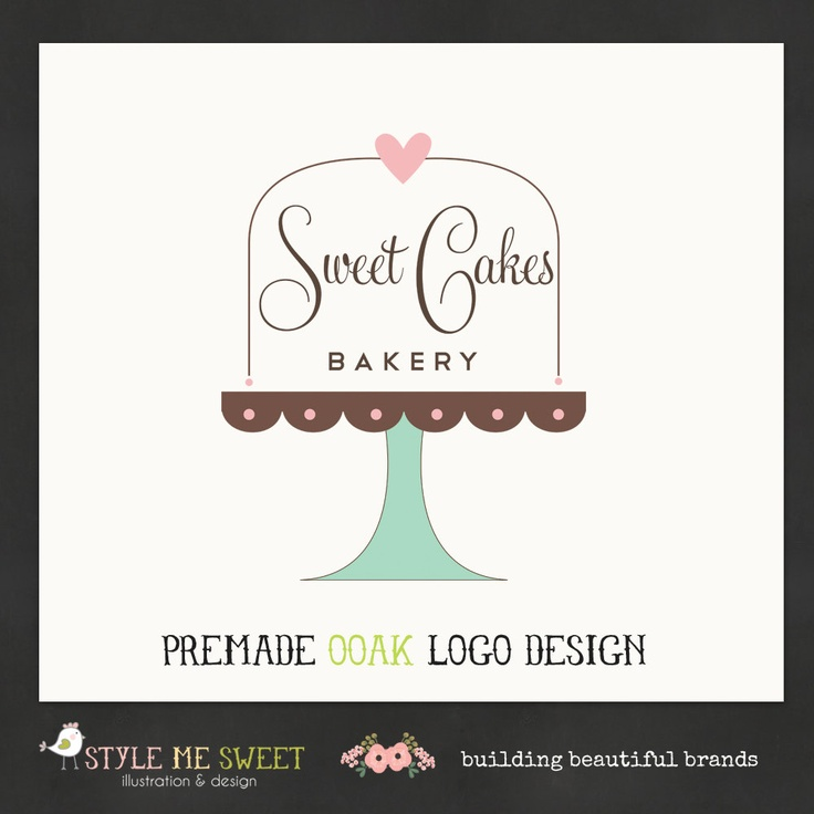 Logo Design Hand Drawn Premade OOAK Sweet Cake Stand with Text Inside Bakery…