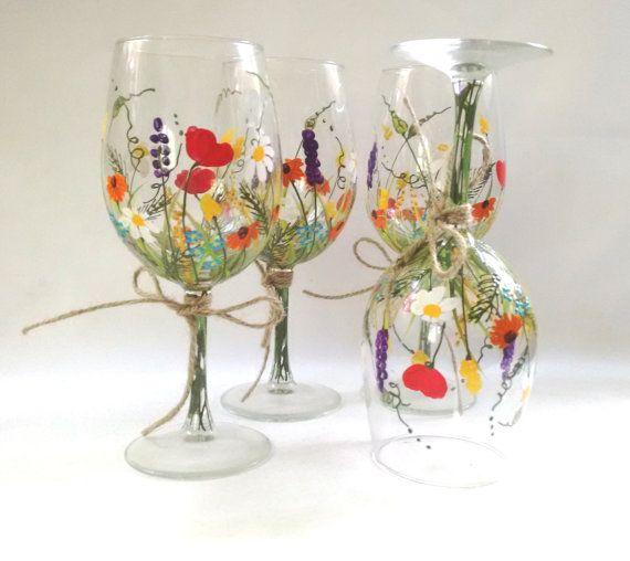 Copas de vino  Copas de vino pintado a mano recuerdo | Etsy