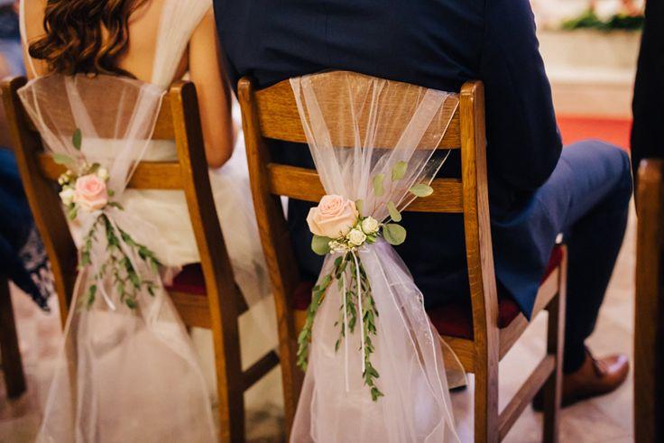 Wedding Chairs (tulle, rose, eucalyptus); poročni stoli (til, vrtnica, evkaliptus)