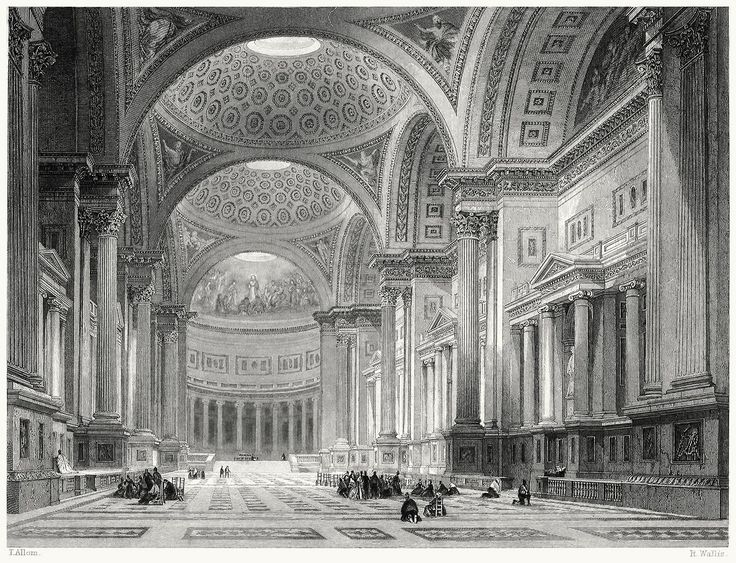oldbookillustrations:  Interior of La Madeleine.  Thomas Allom, from Paris in 1841, by  Catherine Gore, London, 1842.  (Source: archive.org)
