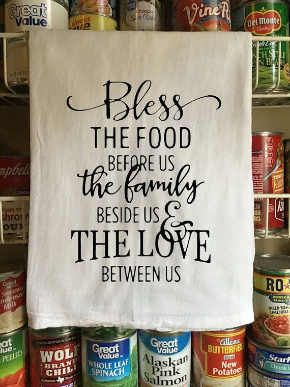 Flour Sack Towel – Farmhouse Kitchen Towel – Hand Towel – Tea Towel – Kitchen Decor – Bless The Food