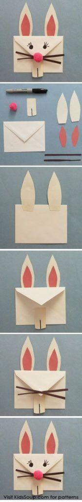 artesanato de Páscoa: um envelope bem fácil de decorar que pode ser feito pelas crianças.