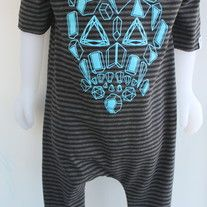 Charcoal and Black stripe Bamboo knit fabric + Locally designed sky blue coloured Geometric skull artwork = the perfect outfit all in one!  Slouchy, snap free, soft, simple. Roll the arms and cuffs up or down to extend size.  All edges are left raw to keep the look minimal and modern. No sna...