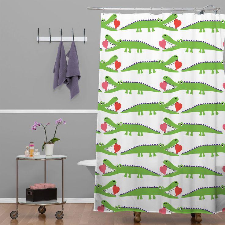 DENY Designs Andi Bird Woven Polyester Alligator Love Shower Curtain    AllModern