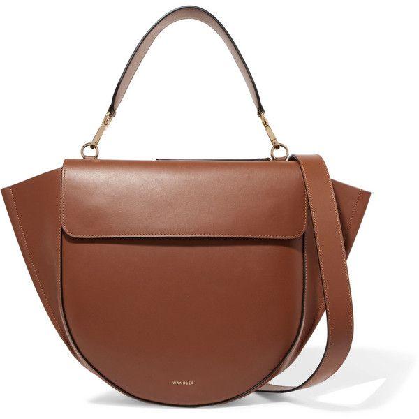 Wandler Hortensia leather shoulder bag ($945) ❤ liked on Polyvore featuring bags, handbags, shoulder bags, tan, tan leather shoulder bag, brown purse, leather shoulder handbags, tan purse and genuine leather handbags