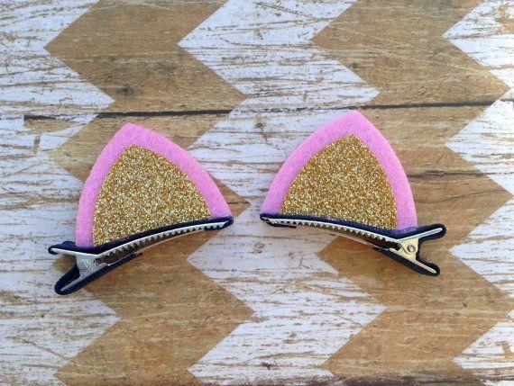 Felt Cat Ears Felt Hair Clips Kitten Ears Glitter by oOItsyBitsyOo