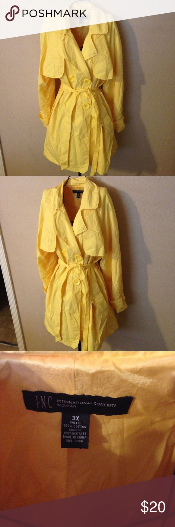 Woman's Macy's inc trench coat size 3X look Very stylish cute coat 1 front button is missing coat priced as is INC International Concepts Jackets & Coats Trench Coats