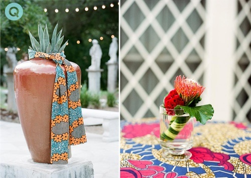 Mismatching african fabrics make for a beautiful and ecclectic wedding decor
