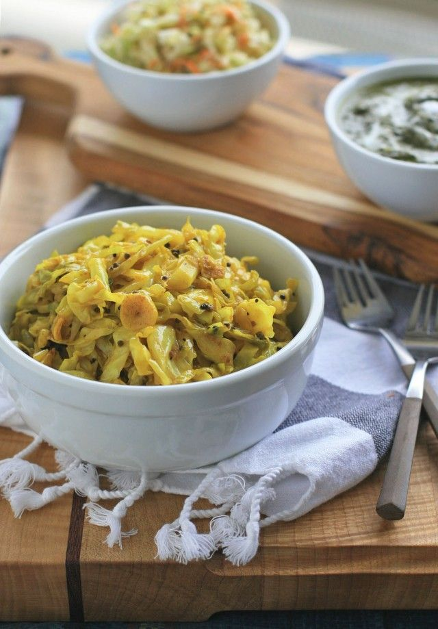 Spicy Indian Cabbage with Mustard Seeds, Garlic and Turmeric.
