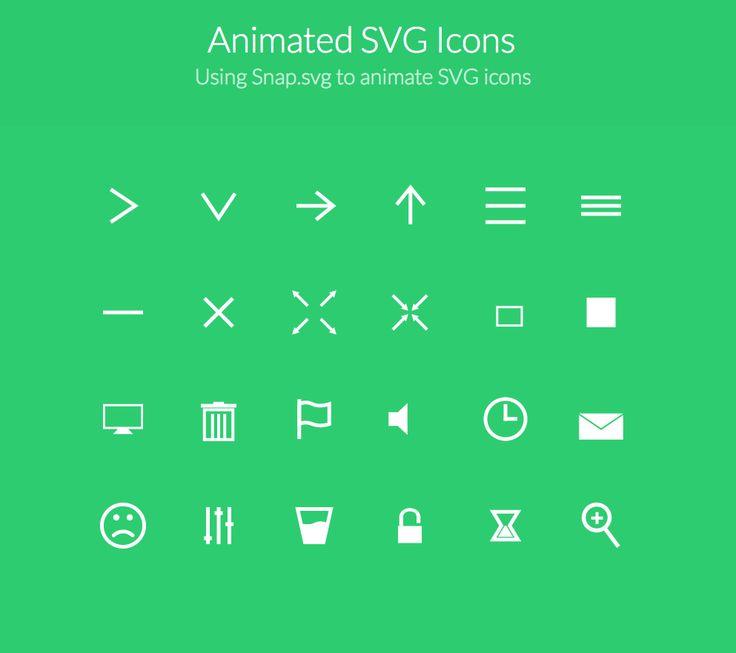 Animated SVG Icons Using Snap.svg to animate SVG icons  http://tympanus.net/Development/AnimatedSVGIcons/