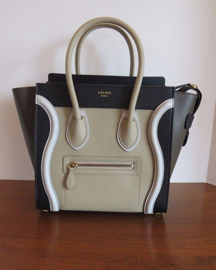 CELINE Micro Luggage TriColor Leather New Authentic Handbag Black ...