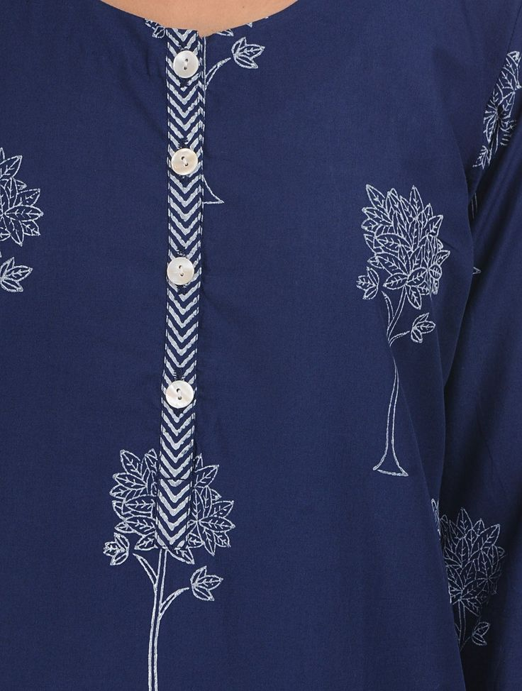 Buy Indigo Hand Block Tree Printed Cotton Kurta Online at Jaypore.com